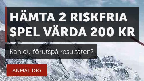 Betsafe 2 riskfria spel värda 200 kronor under Vinter-OS