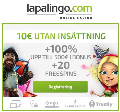 Lapalingo 10 € och 1 freespin per 1 €