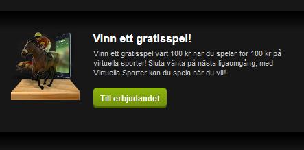 ComeOn Vinn gratisspel 100 kr på virtuella sporter