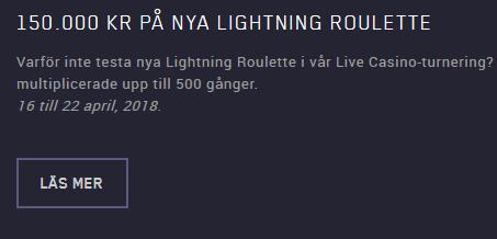 Mariacasino 150 000 kr på nya Lightning Roulette