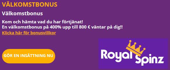 RoyalSpinz Välkomstbonus 400% upp till 800 €