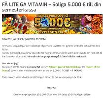 Nätcasino Lapalingo FÅ LITE GA VITAMIN – Soliga 5.000 € till din semesterkassa