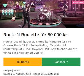 MrGreen Nätcasino Rock 'N Roulette för 50 000 kr