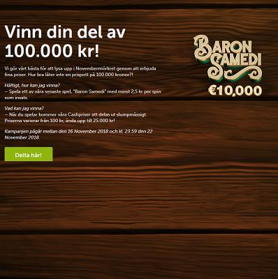 Nätcasino comeon! Baron Samedi 100 000 kr tävling!