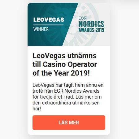 Börja spela nu hos LeoVegas då det är bästa nordiska casinot 2019!