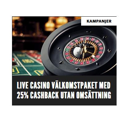 Hämta 25% omsättningsfri cashback på live casino hos Rizk!