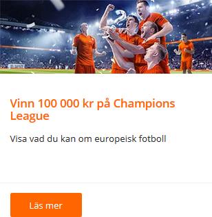 Vinn 100 000 kr på Veckans Champions League-quiz på Betsson!