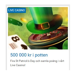 500 000 kr i prispotten på St. Patrick's Day på NordicBet!