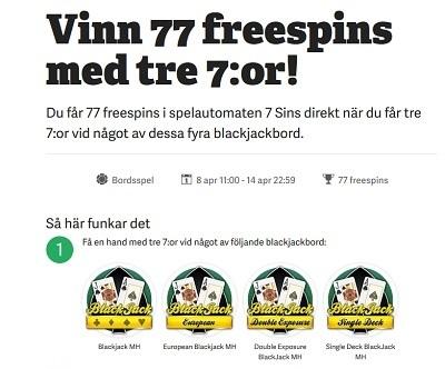 Vinn 77 freespins med 3 sjuor i din hand i Blackjack på Paf!