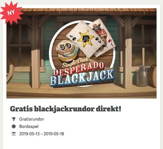 Hämta 50 gratisrundor i Desperado Blackjack-erbjudande på Paf!