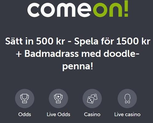 Öppna konto på ComeOn och få bonuspengar och badmadrass med doodle-penna!