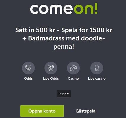Öppna konto på ComeOn nu och hämta bonuspengar + badmadrass!