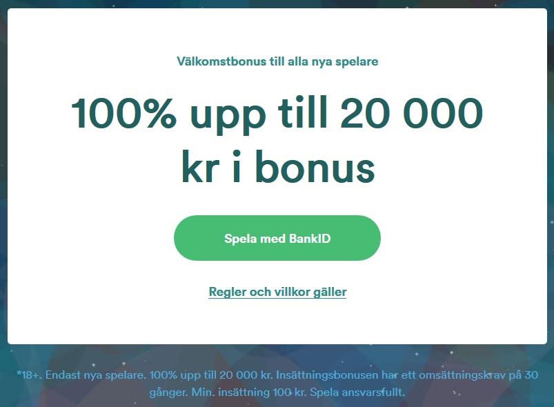 Hämta din 100 % bonus upp till 20 000 kr på Casumo nu!