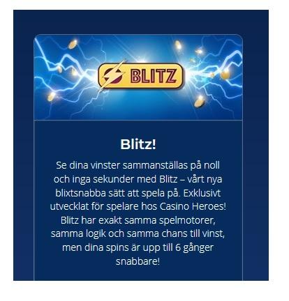 Så fungerar Blitz-funktionen på Casino Heroes!