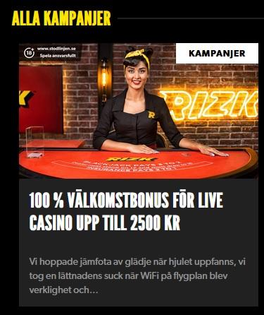 Rizk och deras nya live casino bonus!