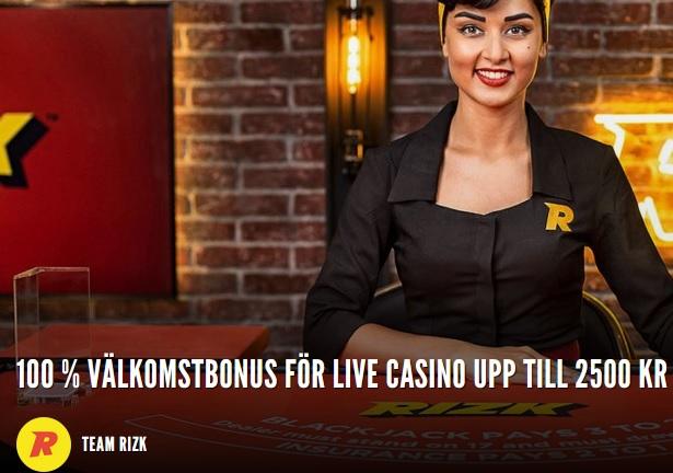 Här klickar du för att få din live casino bonus på Rizk nu!