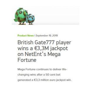 Vann 33 miljoner kronor på Gate777 Casino!