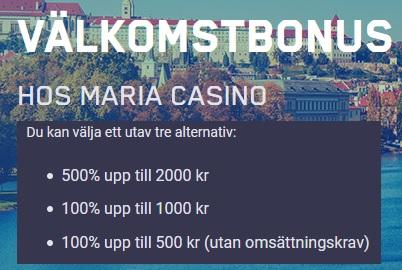 Dra nytta av boostad återbetalning hos Maria Casino här!