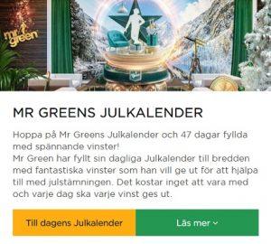 Mr Green och deras Julkalender 2019!
